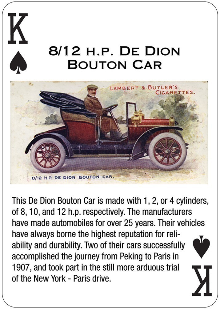 Antique Motor Cars Playing Cards