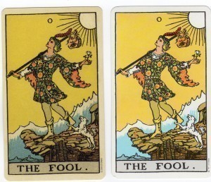 Side by side comparison of two versions of the Rider Waite Smith Fool